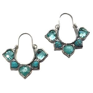 Silver Tone Baby Blue Gem Earrings